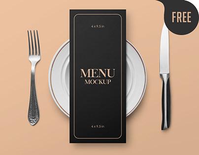Free Restaurant Menu Card Mockup