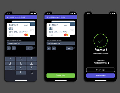 Credit card payment UI
