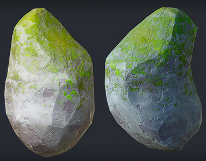 Game-ready stylised rock creation process