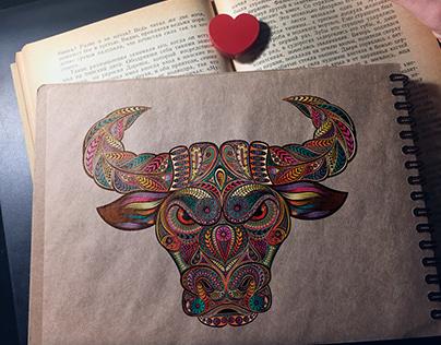 Symbol of 2021. Vector illustration of a bull