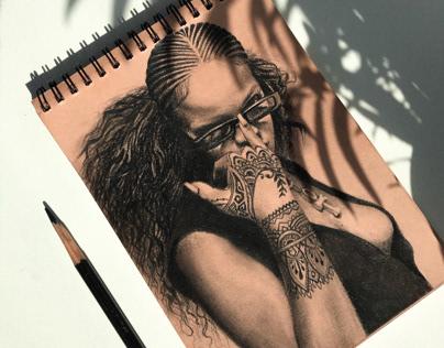 Rihanna pencil art