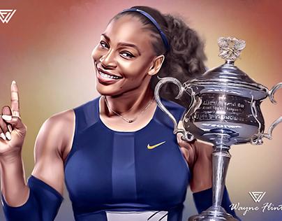 Serena Williams Digital Oil Painting by Wayne Flint