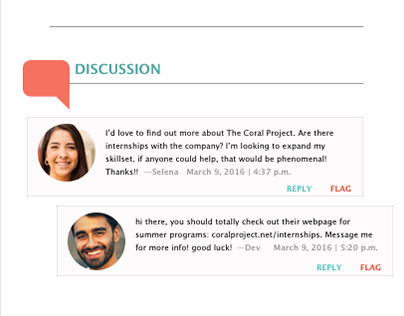 The Coral Project: Comment Feature Mockup