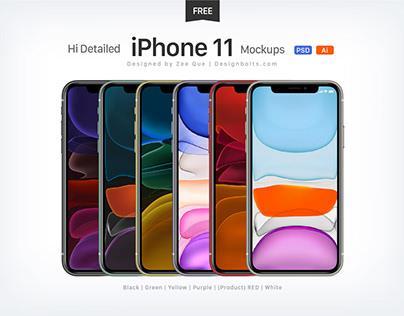 Free Apple iPhone 11 Mockup PSD & Ai