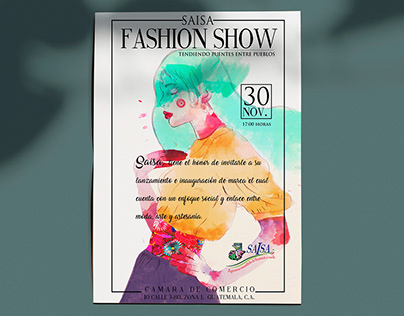 SAISA Fashion Show illustration and invitation