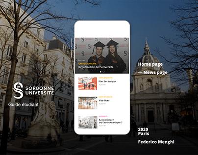 APP mobile SORBONNE université - UI UX -Guide étudiant
