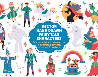 Vector hand drawn fairytale characters
