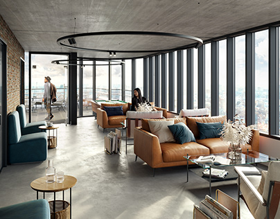 CGI: Lounge zone in a residential complex