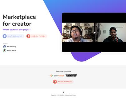 Maker's Marketplace Landing Page