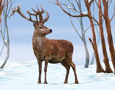 Illustration low poly deer