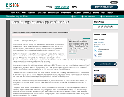 Press Release: Loop Recognized as Supplier of the Year