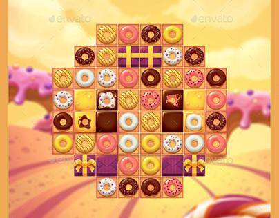 Donut Match 3 GUI Pack