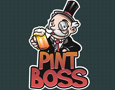 Logo + Mascot Pint Boss