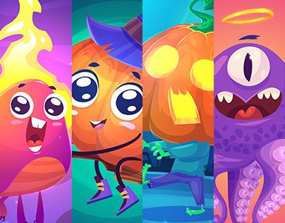 Halloween set (vector illustrations)