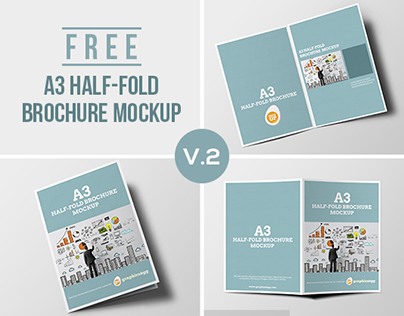 Half-fold brochure mockup FREE PSD on Behance