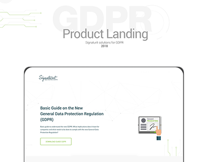 Product Landing page. GDPR