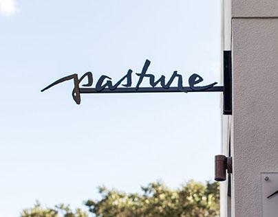 Hand lettered logo for Pasture Restaurant