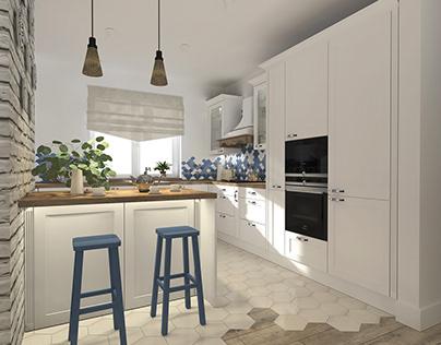 Rustic kitchen blue - white