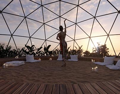 Yoga near the beach of Persian Gulf