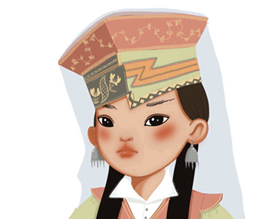 Character design concept Kalmyk girl