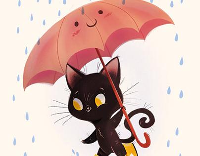 Kitty playing in rain