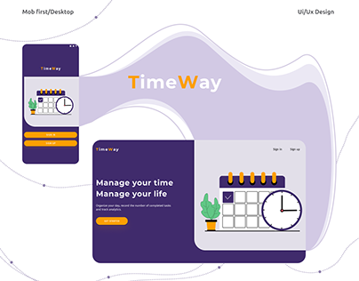 Time management app UI/UX Design Mobile+desktop version