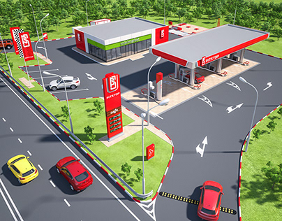 Creation of petrol station visual design.