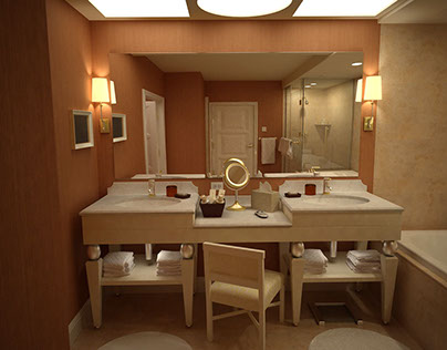 Wynn Las Vegas bathroom 3d visualization