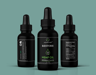cbd label design with free mockup