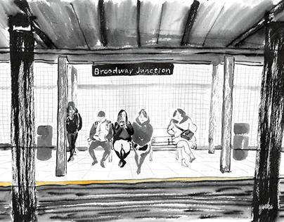 NYC subway sketches