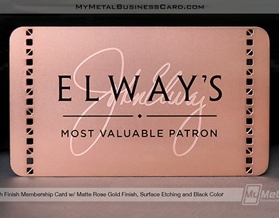 Elegant Rose Gold Custom Metal Membership Card