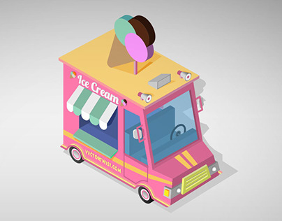 Isometric Ice Cream Truck