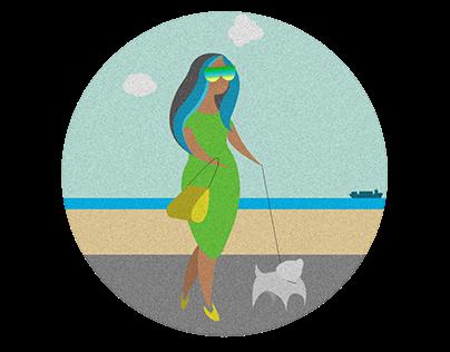 Lady on a walk : illustration