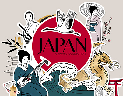 Japan. Line art graphic collection
