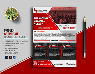 Corporate Business Flyer Design Free Template (Red)