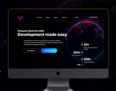 Landing page for software developer