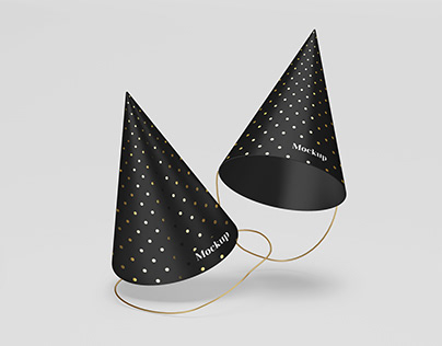 Matte Party Hats Mockup with gold in PSD