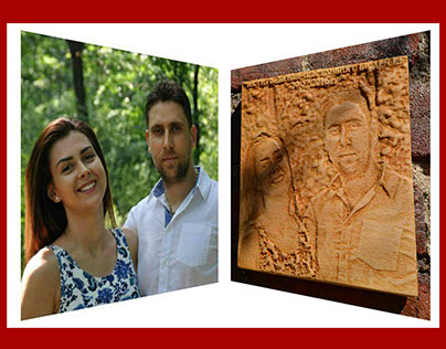 Wooden carved photo on Stanimir's frends