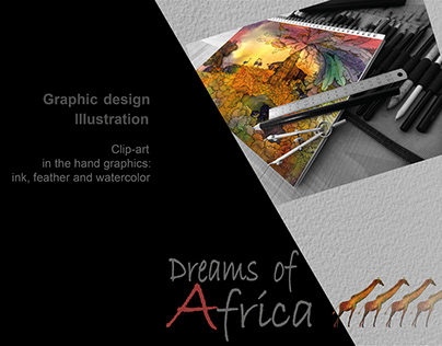 """Clip-art """"Dreams of Africa""""/ink feather/ watercolor"""