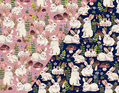 White Bunny with Mushrooms Pattern