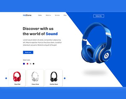 Hero Section of Headphone Company Website