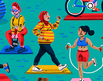 Exercising is for everyone: editorial illustration