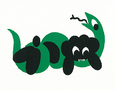 Puppy VS Snake (screen print)