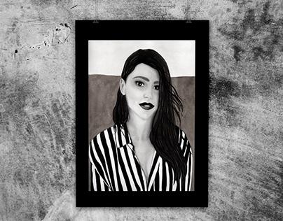 Retrato con tinta china