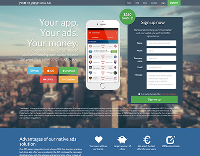 Product landing page - for Native Advertising platform