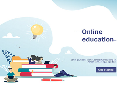 Online education. Vector illustration for landing page