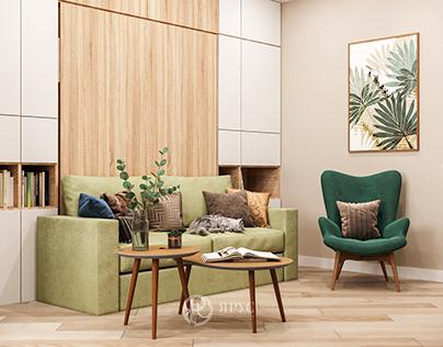 Двухкомнатная квартира в стиле современный прованс