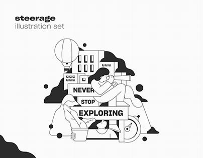 Illustration set / steerage
