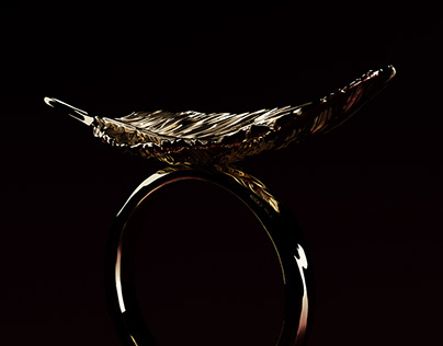 Rings with a Feather. Sculpted jewelry design.