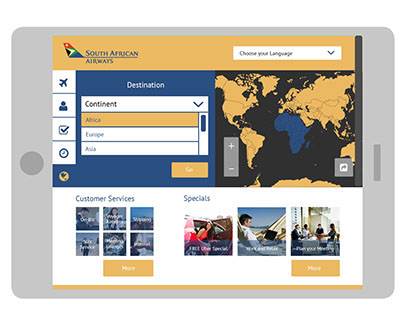 South African Airlines - UX/UI, Web Design